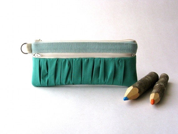 SALE 20% OFF - Prices already reduced -The True Romantic Pouch - a fabric pencil case or pouch in light blue/emerald green