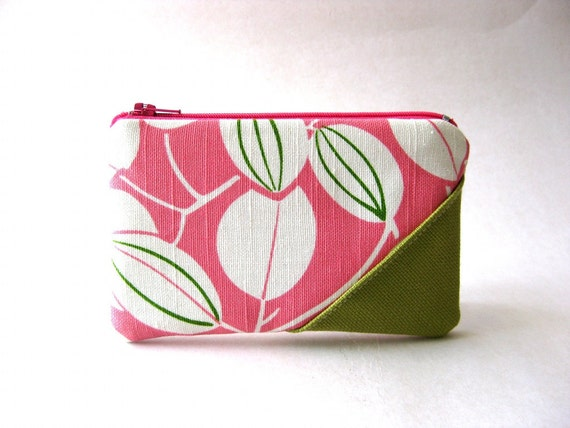 SALE - Was originally: 15 USD - The Picnic Coin Purse in pink , and white cotton fabric and apple green/light pink -cotton