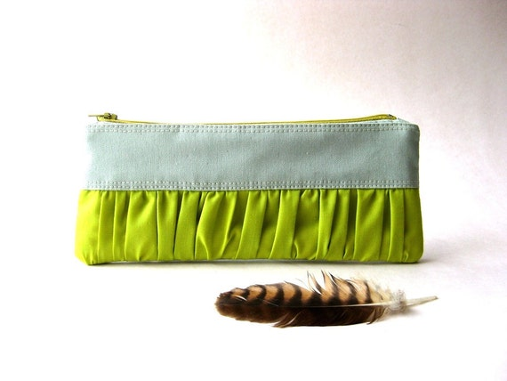 Black Friday Etsy - SALE 20% OFF - Prices reduced - New Mini True Romantic Pouch in light blue - green / apple green fabric