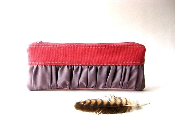 SALE 20% OFF - Prices already reduced -New Mini True Romantic Pouch in  watermelon pink / lavender fabric