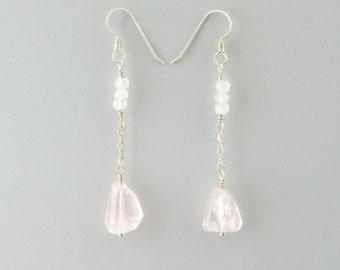 Natural Rose Quartz Sterling Silver Earrings