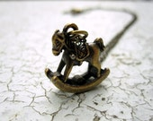 SALE - Rocking Horse necklace (brass toy on antiqued brass chain)