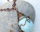 Wire Wrapped Necklace Briolette Necklace