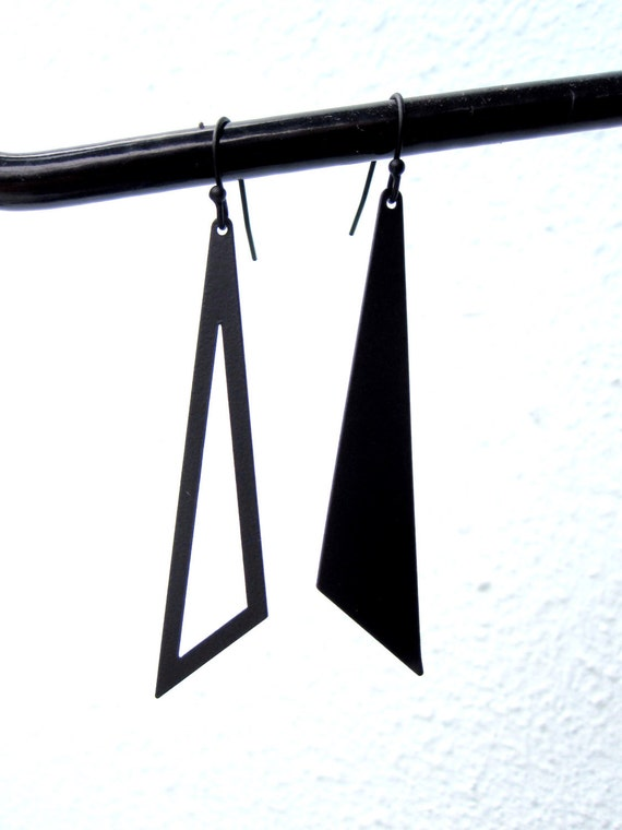 Black Triangle Geometric Dangle Earrings Asymmetrical Women Earrings