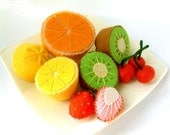 DIY Lovely fruit set(Lemon,Orange,Kiwi,Cherry,Strawberry)--PDF Pattern via Email--V02