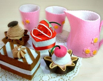 DIY felt Petit Fours and Milk Pot ,Milk Cup---PDF Pattern via Email--F09