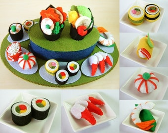 DIY felt Rotating Sushi set PDF Pattern--F22