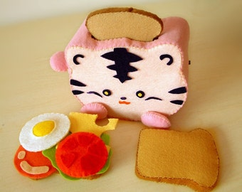 DIY felt Toaster and Sandwich(Pig and tiger shape Toaster)--PDF Pattern via Email--T05