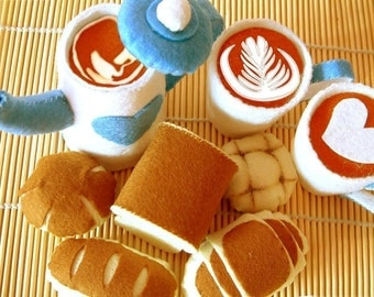 DIY felt Coffee pot,Coffee cups,5 kinds breads(8 in 1),tea time---PDF pattern and instructions via Email--F11