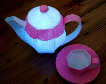Flaring felt tea set---PDF pattern via Email--T01