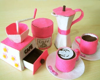 DIY felt Coffee maker,Moka express,Coffee set--PDF Pattern and instructions via Email--T07