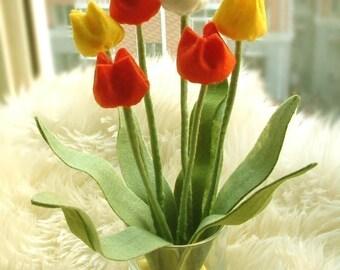 Felt Flower arrangement--Tulip--PDF Pattern and instructions via Email--P02