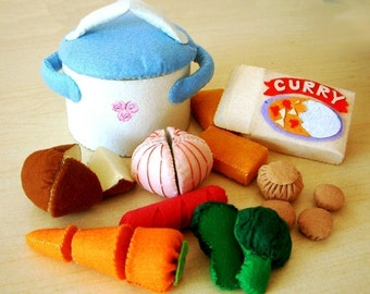 DIY Felt Curry vegetables and casserole(9 in 1)--PDF Pattern and instructions via Email--T06