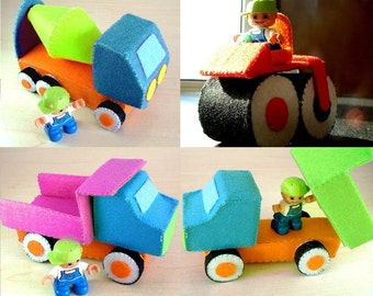 felt toys-DIY Felt Construction truck set(dump truck,cement mixer,road roller)--PDF Pattern-C01