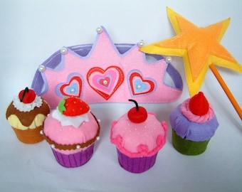 New--Felt food pattern-Cupcake,muffin,star wand,crown-PDF via Email-F25