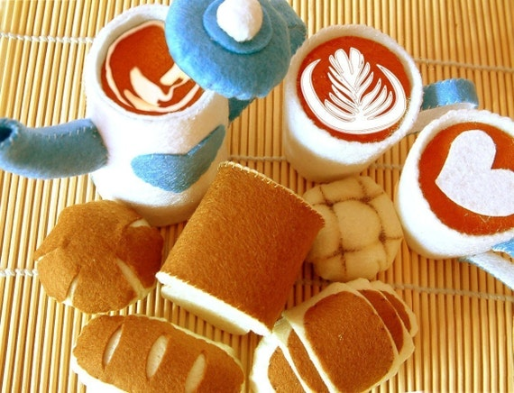 Reserved for Heartfelted,    felt Coffee pot,Coffee cups,5 kinds breads(8 in 1),tea time