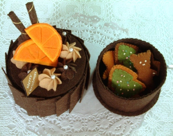 DIY felt Chirismas Sweets (Chocolate Cake,Gingersnap,Candy Box)--PDF Pattern and Instructions Via Email--F03
