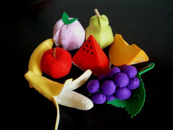 DIY Lovely fruit set 2(Watermelon,banana,peach,pear,grape,honeymelon)--PDF Pattern via Email--V03