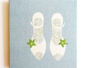 New shoes, Textile art image embroidered fabric mounted canvas, women, feminine gift idea, mother, wife, fiancee, grandmother, girlfriend