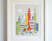 New York Art Print Manhattan Skyline Paper Poster, Cityscape Illustration, Decor for Home, Office and Nursery, Orange Red, LPPNYM1