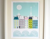 Paris Art Print, Skyline Wall Art Print, Paper Poster, Cityscape Illustration, Seine River, Eiffel Tower, Home decor, Office and Nursery