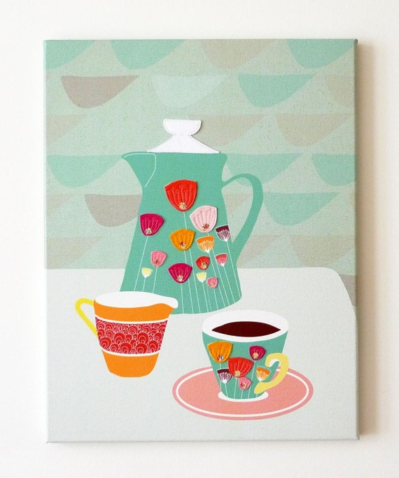 Coffee Time - Retro styled stitched canvas print