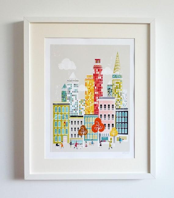 Nueva York lámina Manhattan Skyline papel afiche por lauraamiss