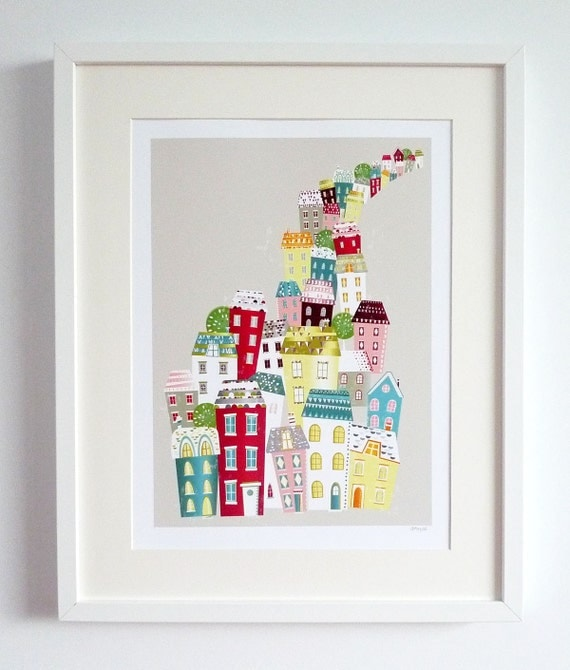 City Living Skyline Paper Art Print Cityscape By Lauraamiss