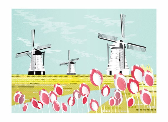Windmills Tulips Canals, Dutch Landscape Art Print, Countryside illustration, Paper Poster, Wall Art, Home, Office Decor, Nursery, SPPWT1