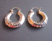 Bali 1 inch Sterling silver Tribal style earrings / silver / Tribal Earrings / Handmade Tribal Style Jewelry.