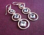 Awesome sterling silver Topaz Dangle Earrings / 2 inch long /  silver 925 / Balinese handmade jewelry.