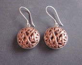 Balinese Copper Bamboo Dangle Earrings / silver 925 and copper  / 1.40 inch long