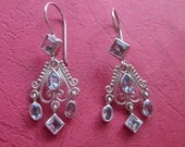 Wondrous Bali Silver sterling Topaz Chandelier Earrings /  handmade jewelry / 1.8 inch long / silver 925