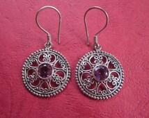 Balinese Sterling Silver Amethyst Earrings / 1.4 inch long / silver 925 / Bali handmade granulation Jewelry