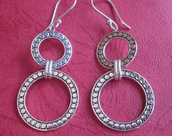 Bali Sterling Silver double rings dangle Earrings / 2.4 inches / silver 925 / Balinese handmade jewelry.