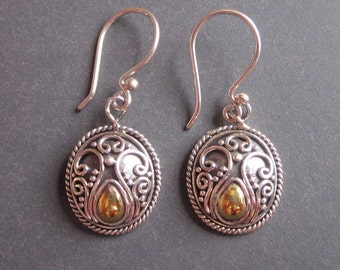 Unique Balinese Sterling Silver with brass Vintage style Earrings / 1.4 inch long / Bali handmade granulation jewelry