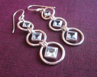 Awesome sterling silver Topaz Dangle Earrings / 2 inch long /  silver 925 / Balinese handmade jewelry.
