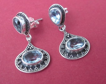 Bali 925 Silver Topaz stud Earrings/ 1 inch / silver / Topaz earrings / handmade jewelry.