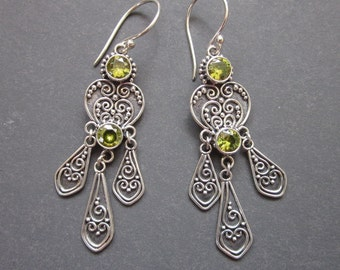 Balinese Sterling Silver Peridot Dangle Earrings / 2.3 inches long / Bali handmade jewelry / silver 925