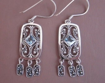 Sterling Silver Topaz dangle Earrings / 2.2 inches long / Jewelry handmade from Bali / Silver 925