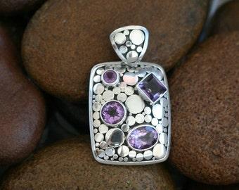 Bali sterling Silver Amethyst Pendant / silver 925 / Balinese handmade jewelry.