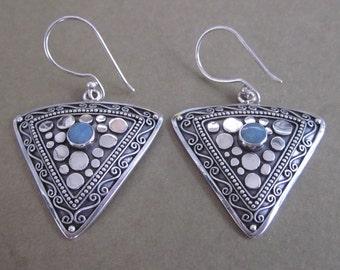 Bali Sterling Silver 925 Tribal Afghan style Earrings / Opal / 1.6 inch long  / Nomad jewelry / handmade