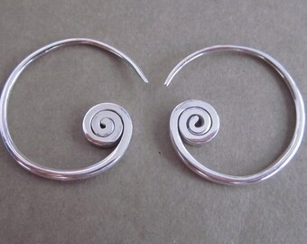 Rustic Sterling Silver Tribal style Hoop Earrings / silver925 / handmade jewelry (#89K)