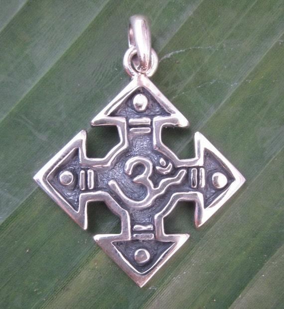 Balinese sterling Silver Pendant - Om Mantra / Bali jewelry / silver925 / Hindu sign OM in cross shape form