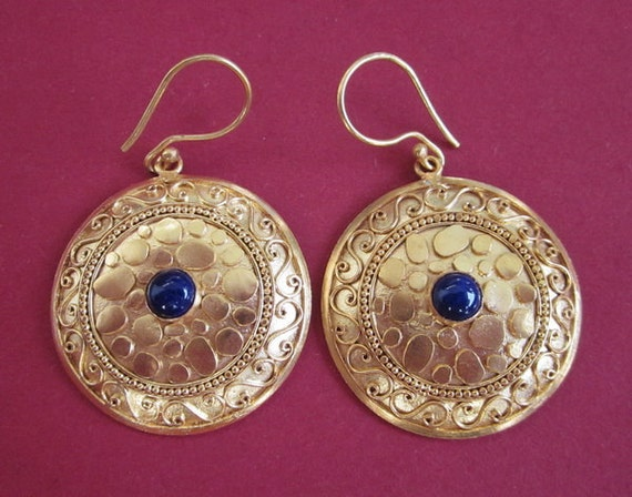 Bali Gold plated Tribal style Earrings / Lapis Lazuli / Nomad jewelry / Handmade Jewelry
