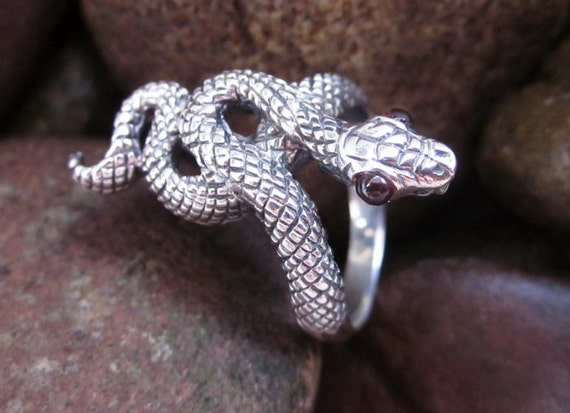 Balinese 925 Sterling Silver snake ring / silver handmade jewelry / Size: 9 Ready To Ship.