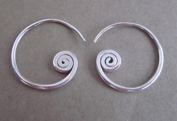 Rustic Sterling Silver Tribal style Hoop Earrings / silver925 / handmade jewelry (#89)