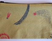 Screen Printed  Yellow Cotton Space Purse Pouch Pencil Case