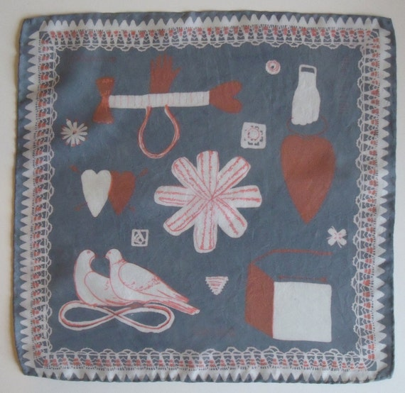 Hand Screen Printed Silk Love Token Handkerchief Grey/White/Red