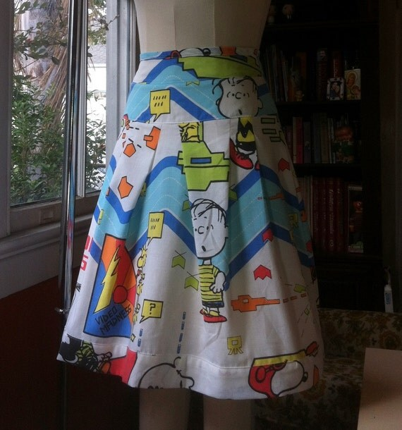 Peanuts Space Invaders High-Waisted Skirt OOAK